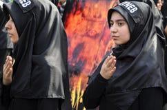 Turkish Shia girls takes part in an Ashura parade Stock Photos