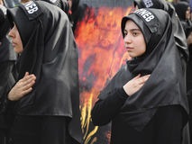 Turkish Shia girls takes part in an Ashura parade Royalty Free Stock Photography