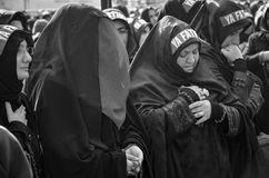 Turkish Shia women mourn during an Ashura procession in Istanbul. Istanbul, Turkey - November 3, 2014: Universal Ashura Mourning Ceremony. Day of Ashura. Turkish Stock Photo