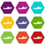 Turkish shoes icon set color hexahedron Stock Image