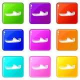 Turkish shoes icons 9 set Royalty Free Stock Photography