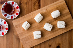 Turkish Shortbread Cookies with tea / Un Kurabiyesi Stock Images