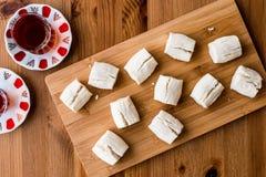 Turkish Shortbread Cookies with tea / Un Kurabiyesi Royalty Free Stock Photo