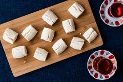 Turkish Shortbread Cookies with tea / Un Kurabiyesi Stock Photo