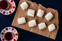 Turkish Shortbread Cookies with tea / Un Kurabiyesi Stock Image