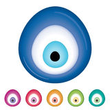 Turkish sign vector. Evil eye talisman or amulet isolated in white royalty free illustration