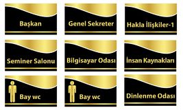 Turkish signage models, genel müdür, muhasebe, satış ofisi, mutfak, bay wc, bayan wc - translation: general manager. Turkish signage models, genel m vector illustration