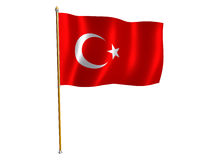 Turkish silk flag. Silk flag of Turkey Royalty Free Stock Photo