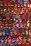 Turkish Slippers. Colourful Turkish Slippers on Street-stand Stock Photo