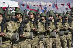 Turkish soldiers walking. Stock Images
