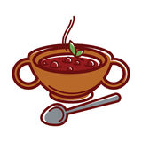 Turkish soup Arabashi in clay bowl with handles. Hot Turkish soup Arabashi in clay bowl with handles, metal spoon and leaves of herbs  cartoon flat vector Royalty Free Stock Photography