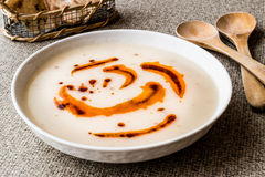 Turkish Soup Dugun Corbasi with fried butter sauce and crispy bread. Royalty Free Stock Images
