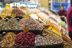 Turkish spices in the Grand Spice Bazaar. Colorful spices in sale shops in the Spice Market of Istanbul, Turkey royalty free stock images