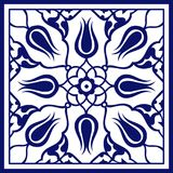 Turkish Square Blue Floral Tile Art Pattern Stock Photography