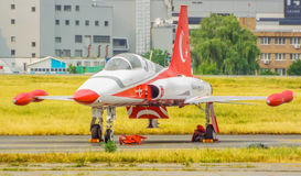 turkish star airplane at bucharest international air show 2016 ,civil and military air show from Bucharest, Romania Stock Photos