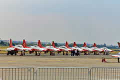 Turkish Stars NF-5 Tiger planes on the airport at BIAS 2015 Stock Photography