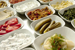 Turkish starters. A typical Turkish dinner starters in side dishes Stock Photography
