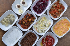Turkish starters. A typical Turkish dinner starters in side dishes Royalty Free Stock Images