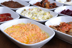 Turkish starters. A typical Turkish dinner starters in side dishes Royalty Free Stock Photo