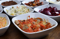 Turkish starters. A typical Turkish dinner starters in side dishes Royalty Free Stock Image
