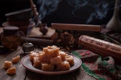 Turkish Still life, Arabic traditional dessert rahat lukum, lokum. Holidays ramadan, seker bayram concept. Royalty Free Stock Photos