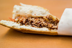 Turkish Street Food Kokorec Sandwich made with sheep bowel. Royalty Free Stock Photos