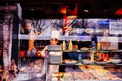 Turkish street food restaurant with hot Kebab Sultan Ahmet district, Istanbul stock image