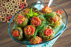 Turkish Stuffed Green Pepper Dolma's Stock Photo