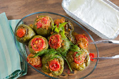 Turkish Stuffed Green Pepper Dolma's with Yogurt Stock Photography
