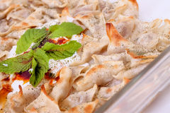 Turkish style delicious manti tatar borek stock photography