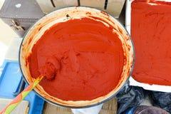 Turkish style natural tomato paste Stock Photos