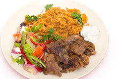 Turkish style roast lamb meal Stock Photography
