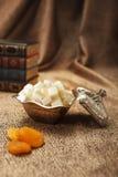 Turkish sugar set with lokum. Turkish sugar set is an antique cups and ottman stuffs lokum Stock Photos
