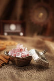 Turkish sugar set with lokum. Turkish sugar set is an antique cups and ottman stuffs lokum Stock Image