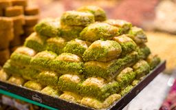 Turkish sweet baklava made of thin pastry, nuts Royalty Free Stock Photos