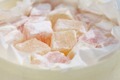 Turkish sweet delight, rose and yellow Stock Photography