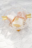 Turkish sweet delight, rose and yellow Royalty Free Stock Photo