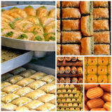 Turkish sweets - baklava, sekerpare and tulumba Stock Images
