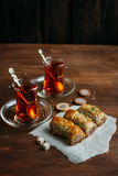 Turkish sweets baklava and tea Royalty Free Stock Images