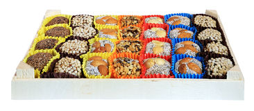 Turkish sweets, candies in a wooden box on the white background, Royalty Free Stock Photo