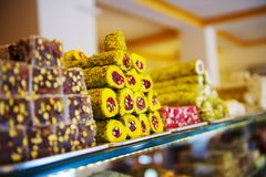 Turkish sweets in Istanbul market Royalty Free Stock Photography