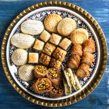 Turkish sweets mix on a traditinal plate Royalty Free Stock Photography