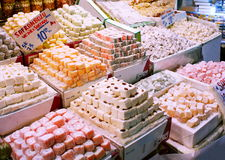 Turkish sweets sold on a market stall Stock Images