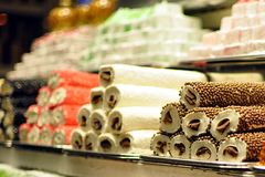 Turkish sweets. Stacks of turkish sweets on display royalty free stock photography