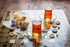 Turkish sweets and tea Royalty Free Stock Photography