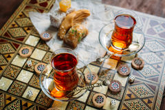 Turkish sweets and tea Stock Photos