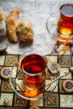 Turkish sweets and tea Stock Photography