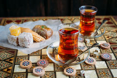 Turkish sweets and tea Stock Image