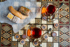 Turkish sweets and tea Royalty Free Stock Photos