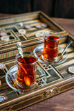 Turkish sweets and tea Stock Images